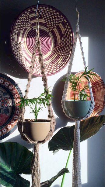 PIXIE Macramé Plant Hanger//Jute or Cotton Rope Vintage Style Jute Bohemian Decor Boho Hippie