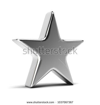 Silver Star Icon. 3D Gold Render Illustration