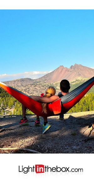 [$28.07] Camping Hammock Double Hammock Outdoor Lightweight Quick Dry Breathability Parachute Nylon for 2 person Fishing Camping Blue Green Orange