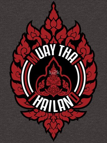 muay thai sacred logo thailand badge classic art sticker | Slim Fit T-Shirt