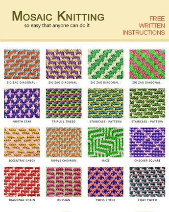 Mosaic Knitting | Slip-stitch Knitting | Two color Knitting | Three color Knitting | Two color slip stitch | Faux Fair Isle Knitting. A lot of stitch patterns, you can use for any project to get you started. All free!