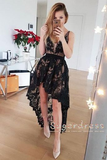 Asymmetrical Lace Black Homecoming Dress