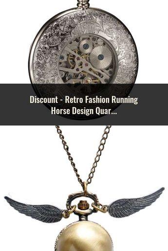 6644b59da Retro Fashion Running Horse Design Quartz Pocket Watch Clock Necklace  Pendant Chain for Women Men Gifts