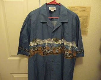 c18ef5a6 Pacific Legend Apperal Aloha Shirt Mens 2X Blue with Choppers 100% Cotton -  Edit Listing