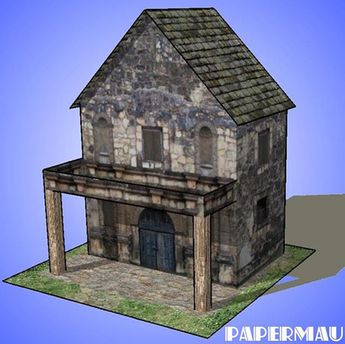 The Stone House With Balcony Paper Model