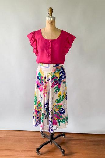 Vintage 1980s rainbow floral fruit print silk midi skirt / 80s vintage designer skirt / Medium M 28 waist