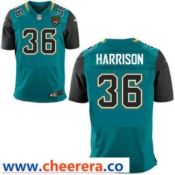 1e402f7d6 ... vapor untouchable nike 95d6e a119e  authentic mens jacksonville jaguars  36 ronnie harrison teal green team color stitched nfl nike elite jersey