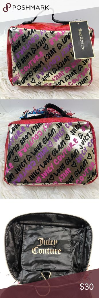 """Juicy Couture Makeup Bag NWT super cute Juicy Couture Makeup Bag. Inside has two elastic pockets, a small zipper pocket with a hook for hanging. The other side is a mesh zipper pocket. Bags design is """"Grafitti Print"""" with pink glitter trim and gold sides. Bag is vinyl. Measures 10x7x3 when closed. Juicy Couture Bags Cosmetic Bags & Cases"""