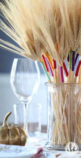 DIY Color Wrapped Wheat - add a little unexpected color to your fall decorating. #friendsgiving #diy #tabledecor #thanksgiving #tablescape #colorwrappedwheat