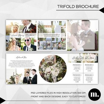 5x5 Trifold Brochure Template with About Me and Session Rates - INSTANT DOWNLOAD - TB003