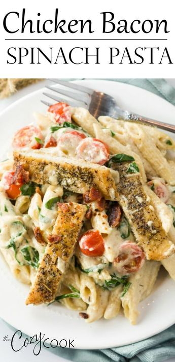 This easy Chicken Bacon Spinach Pasta has the best creamy Alfredo sauce and will quickly become your favorite dinner recipe! #pasta #alfredo #chicken #bacon #spinach #comfortfood #dinner #easy