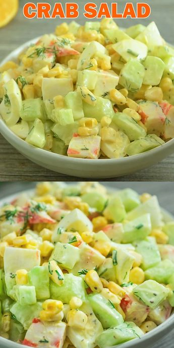 Imitation Crab Salad – quick and easy crab salad made with crunchy cucumbers, sweet corn, and hard-boiled eggs. Perfect for lunch, dinner, or on a sandwich! If you make this recipe, share some photos! I always check!  #crab #salad #seafood #recipeoftheday #lunch #video #easyrecipe #cucumbers #corn