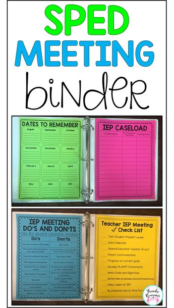 Special education meeting binder is ideal for everything you need to prepare for your IEP meetings. Complete with IEP caseload documentation, calendars, teacher forms, and so much more. Editable to fit you needs as well!