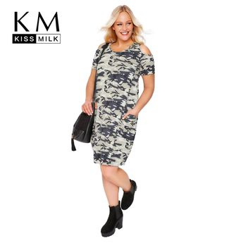 648437b8119 Camo Print T-shirt Casual Military Camouflage Tunic Cold Shoulder Dress Big  Size Dress 3