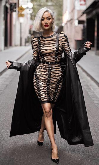 Try To Resist Beige Black Long Sleeve Round Neck Crisscross Lace Up Bodycon Bandage Mini Dress