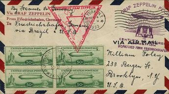 Chicago travel 1933, USA post, total circuit, cover from nu 4. 10. with block of four 50 C. Zeppelin, both flight stamp on face, arrival-SST...