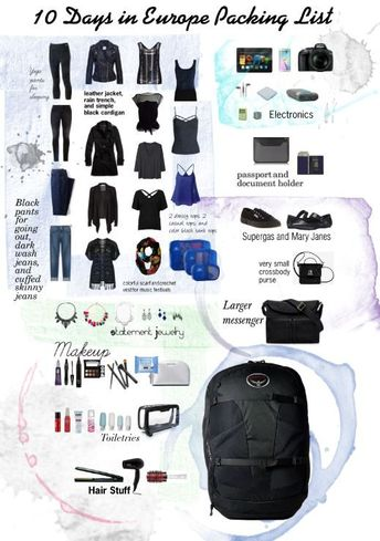 Packing list for ~10 days in Europe during spring/early summer.