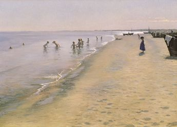 Summer Day At The South Beach Of Skagen Poster by Peder Severin Kroyer