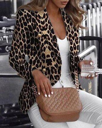chicme / Blazer estampado leopardo de manga larga