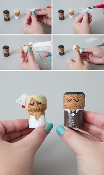 You HAVE To See These DIY, Painted Champagne Cork Bride + Groom!