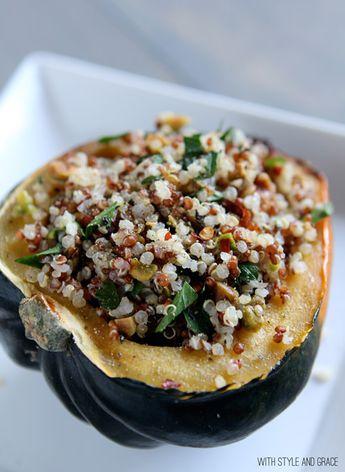 Quinoa & Pistachio Stuffed Acorn Squash