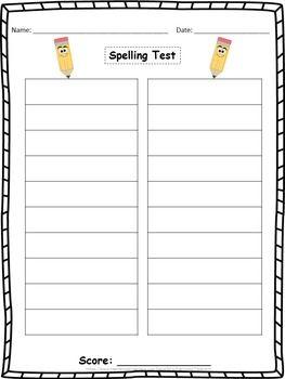 Spelling Test Paper 25 Words
