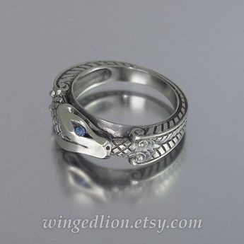 OUROBOROS silver mens Snake ring with alexandrites