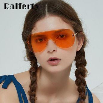 769d96ff68 Ralferty Oversized Sunglasses Women Men Big One-Piece Vintage Orange Color  Retro W813050