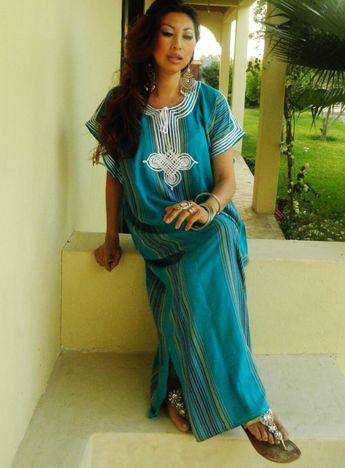 937969f8d9 Spring Trend Resort Caftan Kaftan Bedoin -Turquoise- loungewear,beachwear,  Mother's gift moms