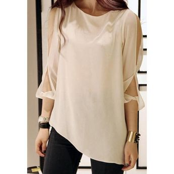 Stylish and Sexy Cut Out Shoulder White Chiffon Shirt For Women