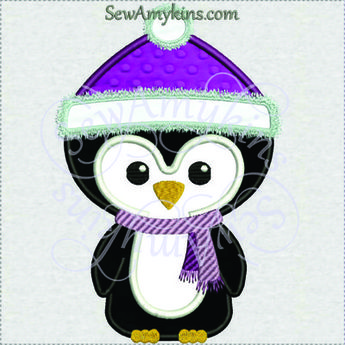cute winter Penguin applique Christmas hat scarf applique machine embroidery design Santa 3 sizes