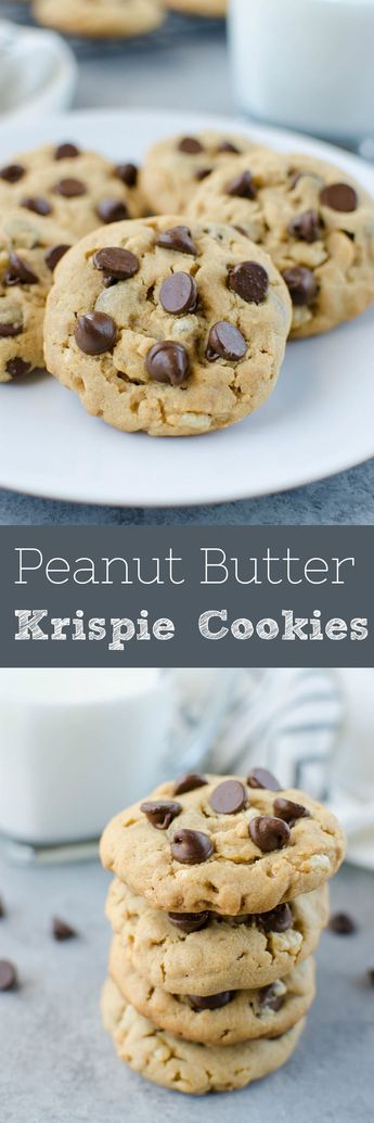 Peanut Butter Krispie Cookies -  peanut butter cookied with chocolate chips and Rice Krispies! The Rice Krispies give the cookies a nice cruncy texture that everyone will love!