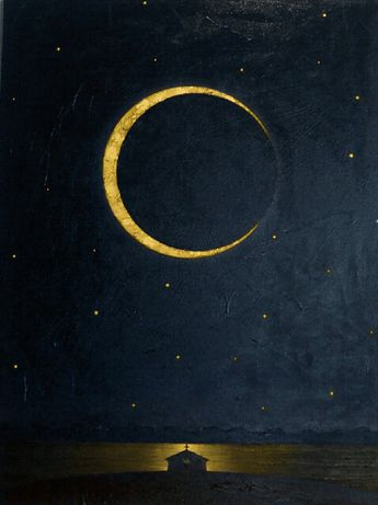 Moon Painting | Crescent Moon Art Print | Cosmic Illustration | Rich Night Sky | Space