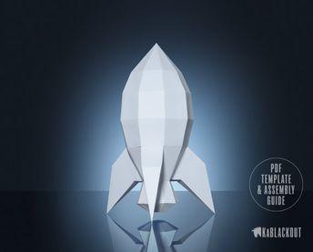 Rocket Papercraft 3D Paper Craft Rocketship Low Poly Paper