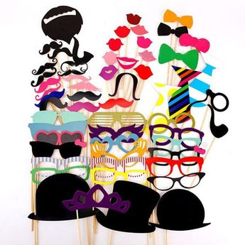 58Pcs/Set  DIY Wedding Souvenirs China Lovely Photo Booth Props With A Bamboo Stick Cute Photo Props Mustache Lips Decoration