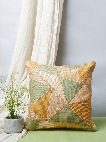 Beige Green Kantha Patch Work Silk Cushion Cover