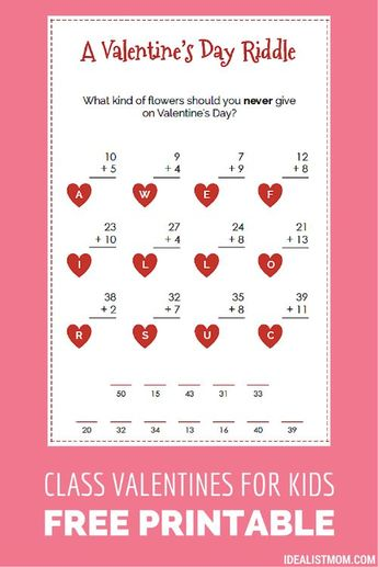 These Funny Valentines for Kids Sneak in Some Math Practice, Too {Printable}