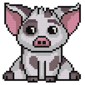 Pua Cross Stitch Pattern-Disney, Moana, pig, animal