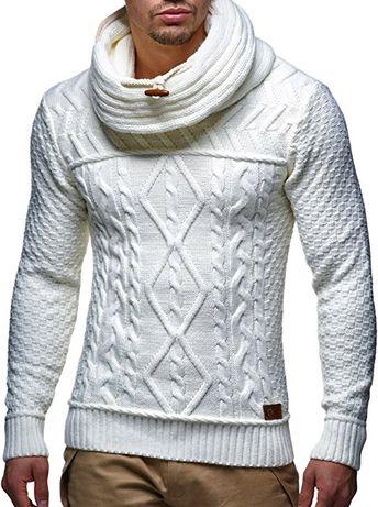 LEIF NELSON Herren Pullover Strickpullover Hoodie Sweatshirt Pulli  Schalkragen LN7025N  Größe L, Weiss  bd4cac9454