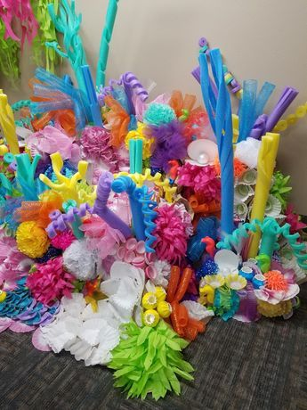 Another angle of Coral Reef for Under the Sea theme event. I cut pool noodles, made tissue paper anemones and to make different types of barnacles I used dyed coffee filters, paper cups and cupcake liners.