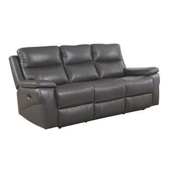 Furniture Of America Soron Faux Leather Reclining Sofa In Gray
