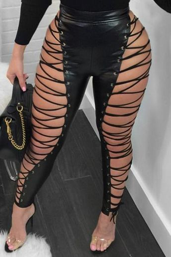 Fashion Lace-up Hollow-out Leather Pants