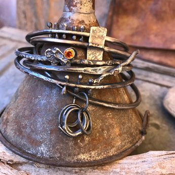 wild / crafted / metal : various sterling silver cuff bracelets / rustic and eclectic artisan jewelry by studio luna verde / embracing the art of imperfection / wildly different