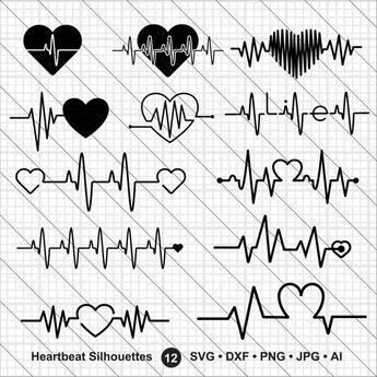 Battito cardiaco siluette SVG, San Valentino bundle svg, può svg, battito cardiaco svg Cut File, DXF, uso di PNG con Silhoutte Studio & Cricut Instant Download