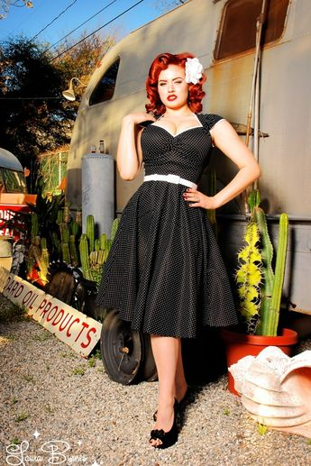 Pinup Couture 50s Heidi Pin Dots Dress in Black