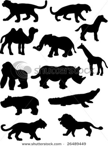 Hallway decorations: safari animal silhouttes--use newspaper and cardboard