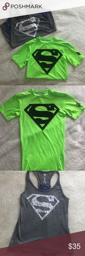"Under armour Superman compression shirt Under armour heat gear compression shirt. Neon green with Superman logo. Throwing in another Superman workout top, grey ""her universe"" tank top with blue split up the back. Both never worn size Small Under Armour Tops Tank Tops"
