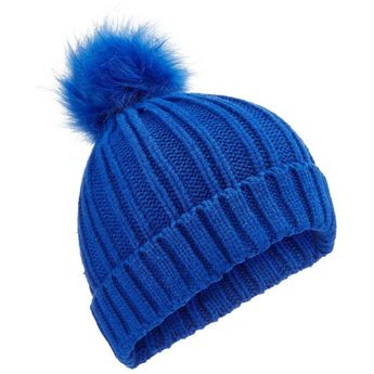 369c8a798f3 Miss Selfridge Cobalt Faux Fur Pom Pom Hat ($23) ❤ liked on Polyvore  featuring