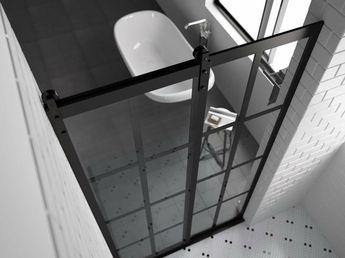 GRIDSCAPE Series Eclipse Sliding Barn Door Shower Door By Coastal Shower Doors