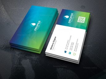 Turquoise Professional Corporate Business Card Template 000948 - Template Catalog